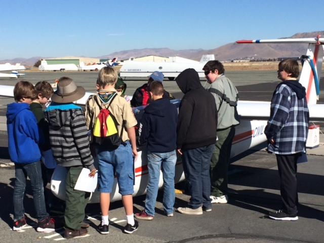 Scouts are shown a Soaring NV glider